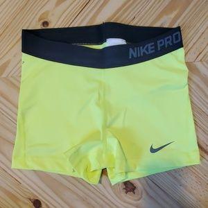 Nike Pro Combat Yellow Compression Shorts M